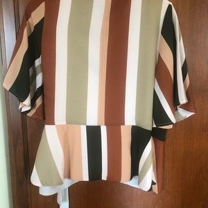 Top with earth tone stripes
